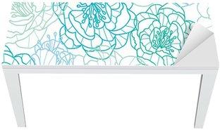 Nálepka na Stůl a Pracovní Stůl Vektorové modré květy PÉROVKY elegantní bezešvé vzor na pozadí