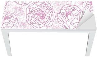 Nálepka na Stůl a Pracovní Stůl Vektorové růžové květy PÉROVKY elegantní bezešvé vzor na pozadí