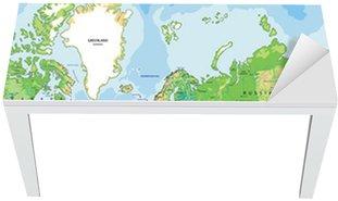 Nálepka na Stůl a Pracovní Stůl Velmi podrobné satelitní fyzický svět s označením.