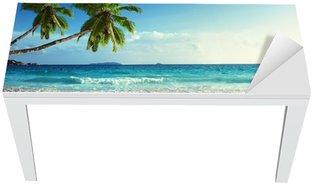 Nálepka na Stůl a Pracovní Stůl Západ slunce na pláži Seychely