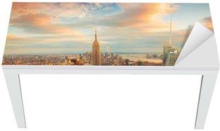 Nálepka na Stůl a Pracovní Stůl Západ slunce pohled na New York City při pohledu na Manhattanu