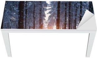 Nálepka na Stůl a Pracovní Stůl Západ slunce v lese v zimním období