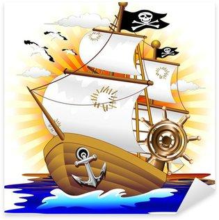 Nálepka Pirátská loď Pirátská loď Cartoon-Vector