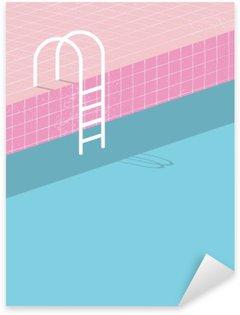 Nálepka Pixerstick Plavecký bazén ve stylu vintage. Staré retro růžové dlaždice a bílá žebřík. Letní plakát pozadí šablony.