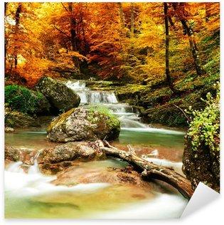 Nálepka Pixerstick Podzimní potok lesy s žlutými stromy