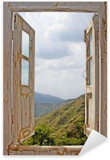 Nálepka Pixerstick Pohled ze staré bílé okno