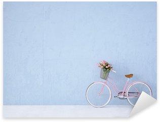 Nálepka Pixerstick Retro vintage kolo staré a modrá zeď. 3d rendering