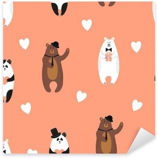 Nálepka Pixerstick Roztomilý nese vzor. Bezešvé romantické pozadí s polární medvěd, medvěd hnědý a Panda.