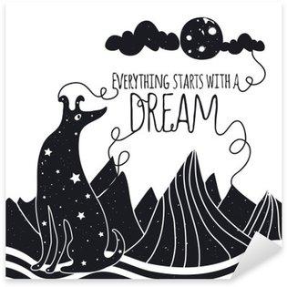 Nálepka Pixerstick Roztomilý romantický vektorové ilustrace se psem při pohledu na měsíc. Vše začíná se snem. Hvězdy, hory a mraky.