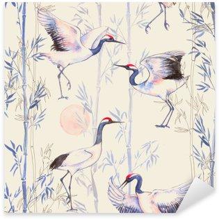 Nálepka Pixerstick Ručně tažené akvarel bezproblémové vzorek s bílými japonských tančících jeřábů. Opakovaná pozadí s jemnými ptáky a bambusu