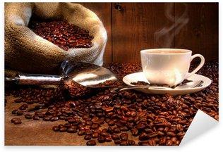 Nálepka Šálek kávy s pytlovina pytel pražených bobů
