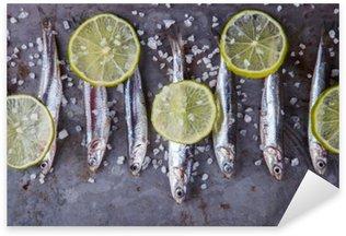 Nálepka Pixerstick Sardele Fresh Marine Fish.Appetizer. selektivní zaměření.