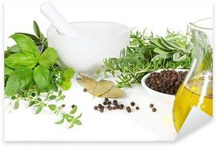 Nálepka Pixerstick Třecí misky a paličky s čerstvými bylinkami a kořením.