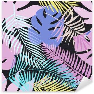 Nálepka Pixerstick Tropické exotické květiny a rostliny se zelenými listy palmy.