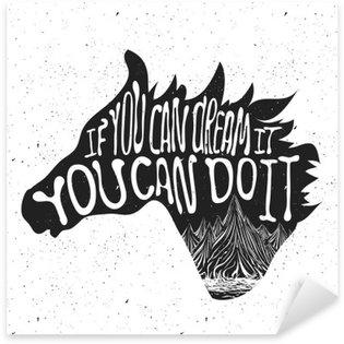 Nálepka Typografie plakát s Koňská hlava silueta a hory