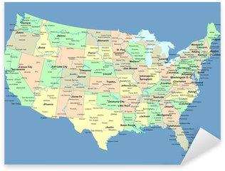 Nálepka USA mapu s názvy států a měst
