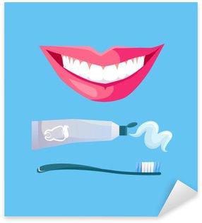 Nálepka Pixerstick Úsměv s bílou Tooth