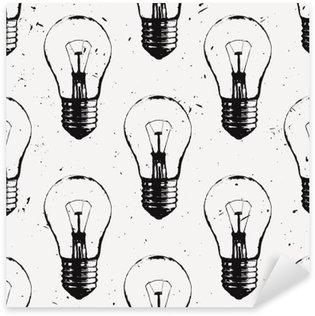 Nálepka Pixerstick Vektorové grunge bezproblémové vzorek s žárovkami. Moderní styl skica bederní. Idea a kreativní myšlení koncept.