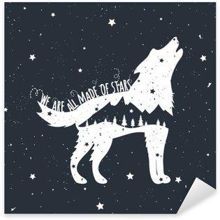 Nálepka Vektorové ilustrace s Howlin 'Wolf, hory a stromy