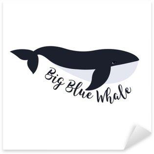 Nálepka Pixerstick Vektorové ilustrace velryba. Design symbol