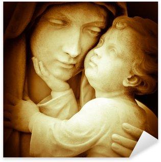 Nálepka Pixerstick Vintage obraz Panny Marie nosný Ježíškovi