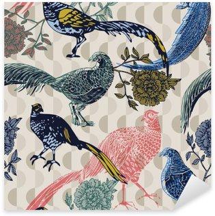 Nálepka Pixerstick Vintage pozadí s ptáky a květiny, módní vzor