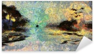 Nálepka Vivid Vířící Painting of Islands západu slunce nebo svítání