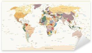 Nálepka Pixerstick Vysoce detailní Politické Mapa světa vintage barvy