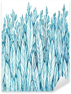 Nálepka Pixerstick Vzor modré listí, tráva, peří, akvarel kresba tuší
