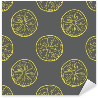 Nálepka Pixerstick Vzor s plátky citronu na šedém pozadí.