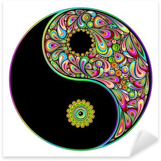 Nálepka Pixerstick Yin Yang Symbol Psychedelic Art Design-Simbolo Psichedelico