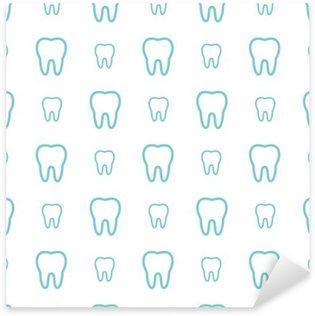 Nálepka Pixerstick Zuby na bílém pozadí. Vektorové zubní bezešvé vzor.