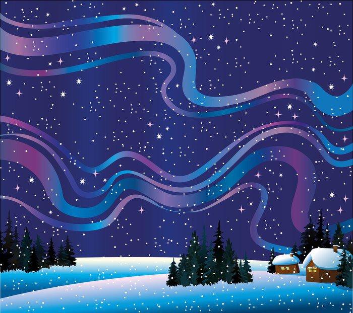 Obraz na Płótnie Natura zima z zorzy polarnej i domów - Cuda natury