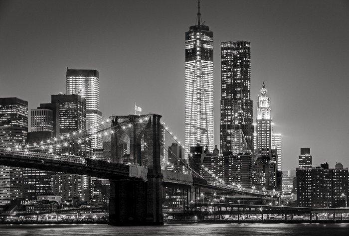 Pentaptyk Nowy Jork nocą. Brooklyn Bridge, Lower Manhattan - czarny -