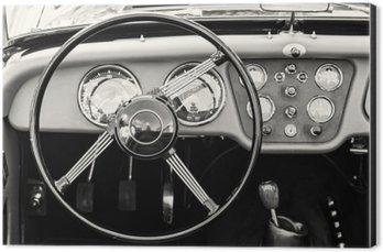 Obraz na Aluminium (Dibond) Kierownicy i deski rozdzielczej w zabytkowym rocznika samochodu