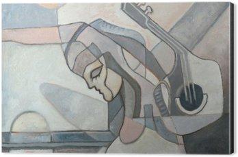 Obraz na Aluminium (Dibond) Malarstwo abstrakcyjne z kobietą i Gitary
