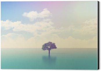 Obraz na Hliníku (Dibond) 3D Oceán scény s strom s retro efekt