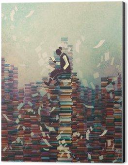 Obraz na Hliníku (Dibond) Muž čtení knihy, zatímco sedí na hromadu knih, znalost pojmu, ilustrační natírání