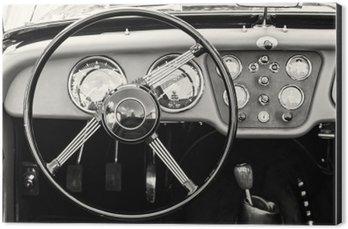 Obraz na Hliníku (Dibond) Volant a přístrojová deska v historickém veteránem