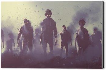 Obraz na Hliníku (Dibond) Zombie dav chůzi v noci, Halloween koncept, ilustrace malba