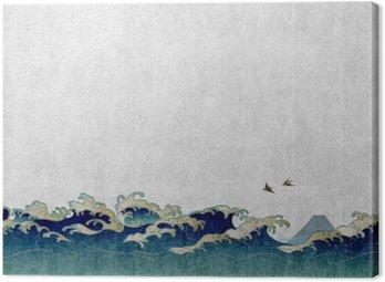 Obraz na Plátně 和風 背景 素材 大 波 と 渡 り 鳥