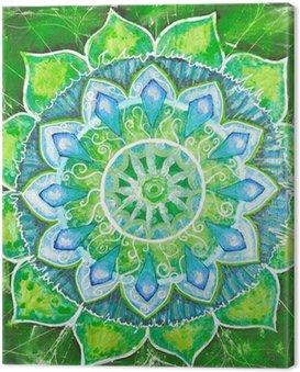 Obraz na Plátně Abstract green namalovaný obraz s kruhem vzorem, mandala