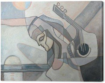 Obraz na Plátně Abstraktní malby s ženou a kytaru