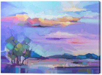 Obraz na Plátně Abstraktní olejomalba krajiny pozadí. Barevné žluté a fialové nebe. olejomalba venkovní terén na plátně. Polo- abstraktní strom, kopec a pole, louka. Slunce krajina přírodní pozadí