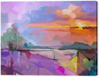 Obraz na Plátně Abstraktní olejomalba krajiny pozadí. Umělecká díla moderní olejomalba venkovní terén. Semi abstraktní strom, kopec se před slunečním zářením (slunce), barvitý žlutá - fialová oblohy. Krása přírody pozadí