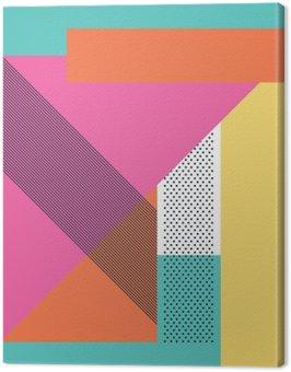 Obraz na Plátně Abstraktní retro 80s pozadí s geometrickými tvary a struktury. Materiálové provedení tapety.