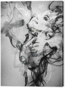 Obraz na Plátně Abstraktní žena portrét. akvarel ilustrace