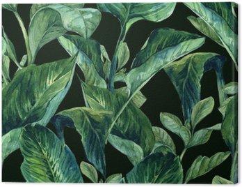 Obraz na Plátně Akvarel Bezešvé pozadí s tropickým listy