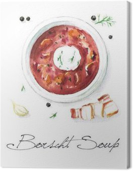 Obraz na Plátně Akvarel Food Malba - Boršč Polévka