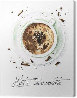 Obraz na Plátně Akvarel Food Malba - Hot Chocolate